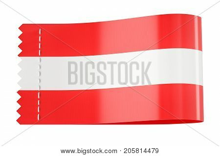 Clothing tag label with flag of Austria. 3D rendering isolated on black background