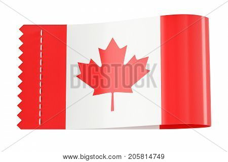 Clothing tag label with flag of Canada. 3D rendering isolated on black background