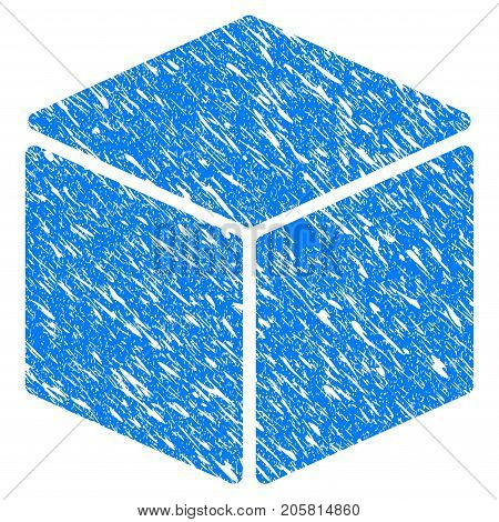 Grunge Cube icon with grunge design and scratched texture. Unclean vector blue Cube pictogram for rubber seal stamp imitations and watermarks. Draft sticker symbol.