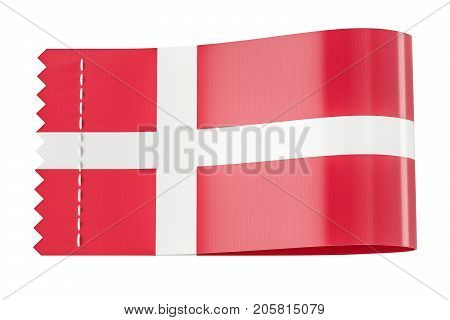 Clothing tag label with flag of Denmark. 3D rendering isolated on black background