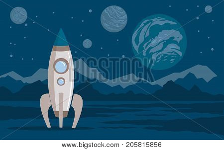 Space Planets Rocket lunar surface Vector illustration