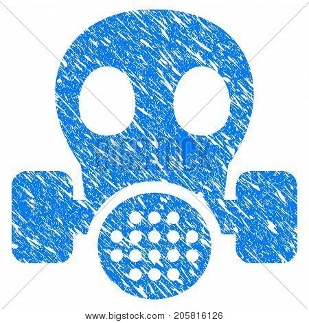 Grunge Gas Mask icon with grunge design and unclean texture. Unclean vector blue Gas Mask pictogram for rubber seal stamp imitations and watermarks. Draft sticker symbol.