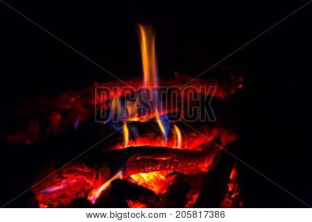 abstract hot embers in darkness