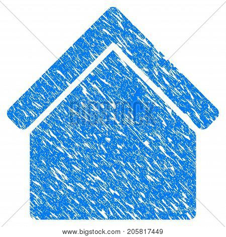Grunge Home icon with grunge design and unclean texture. Unclean vector blue Home pictogram for rubber seal stamp imitations and watermarks. Draft emblem symbol.