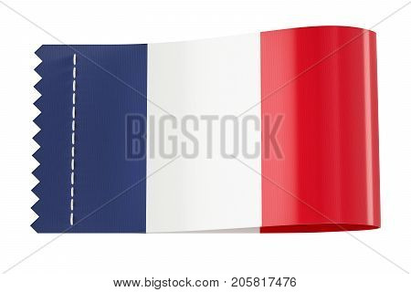 Clothing tag label with flag of France. 3D rendering isolated on black background