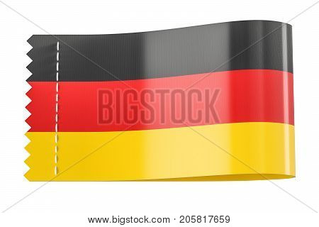 Clothing tag label with flag of Germany. 3D rendering isolated on black background