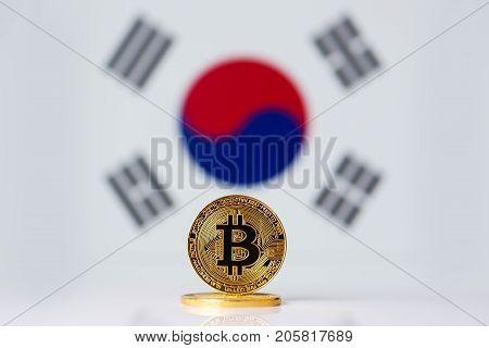 Bitcoin. Bitcoin on South Korea flag background