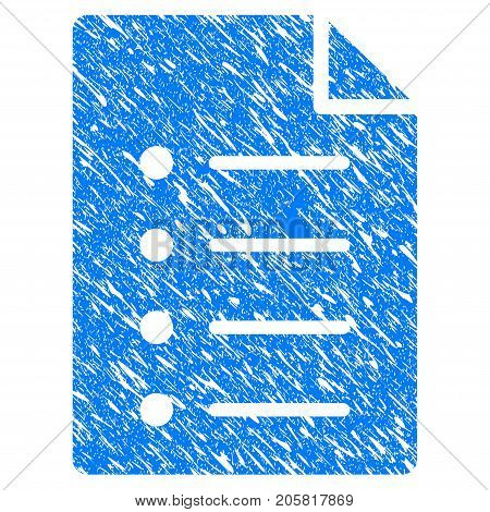 Grunge List Page icon with grunge design and dust texture. Unclean vector blue List Page pictogram for rubber seal stamp imitations and watermarks. Draft sticker symbol.