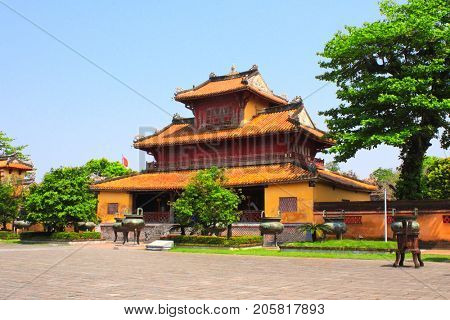 Ancient pavilion in Imperial Minh Mang Tomb of the Nguygen dynasty in Hue, Vietnam. UNESCO world heritage site