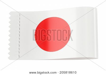 Clothing tag label with flag of Japan. 3D rendering isolated on black background