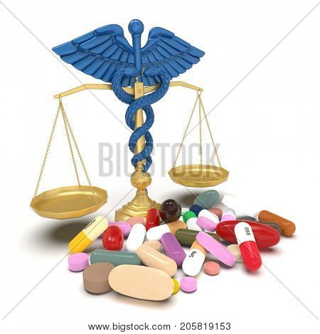 Conceptual idea of justice in pharmacy 3d rendering