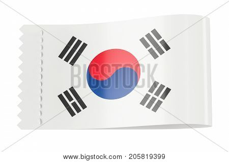 Clothing tag label with flag of South Korea. 3D rendering isolated on black background