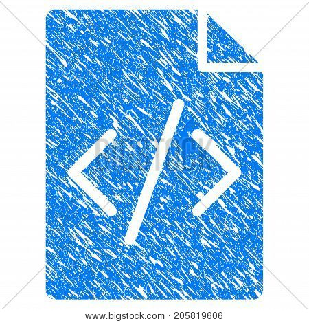 Grunge Programming Script Page icon with grunge design and dust texture. Unclean vector blue Programming Script Page pictogram for rubber seal stamp imitations and watermarks. Draft emblem symbol.