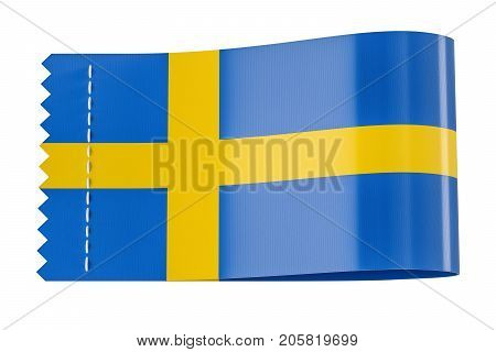 Clothing tag label with flag of Sweden. 3D rendering isolated on black background