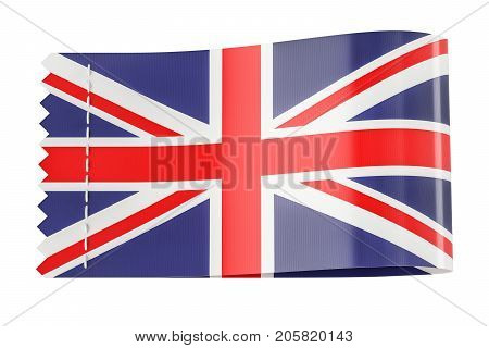 Clothing tag label with flag of United Kingdom. 3D rendering isolated on black background