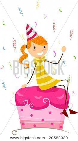 Abbildung eines Mädchens sitzen auf der Spitze eines Kuchens