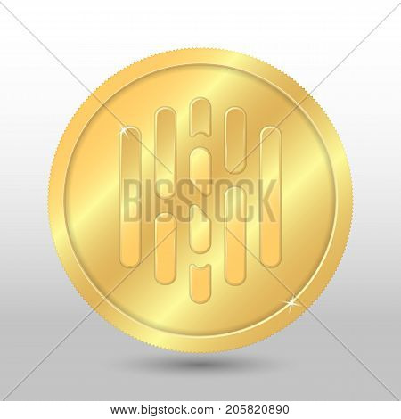 Gold vector hush coin on a gray background. Virtual currency