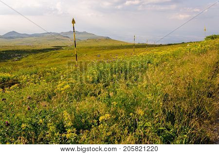 Vast expanse of Vitosha national park, Bulgaria with green meadow and yellow pillars to mark tourist path