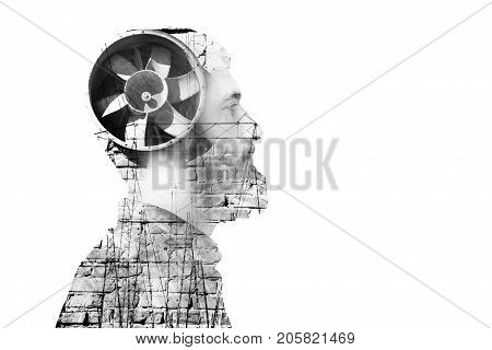 Portrait of young adult man in hood combined with abstract industrial fan and constructions Multiple exposure