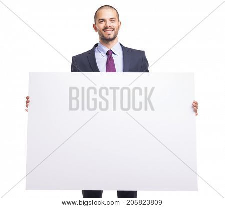Handsome business man holding a white banner on white background