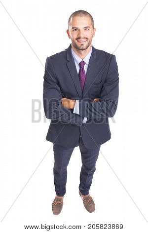 Top view of a happy smiling businessman, isolated on white background