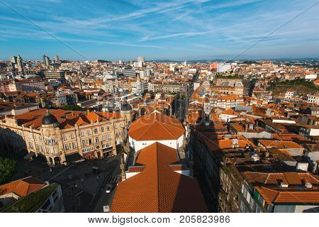 Bird's-eye view old downtown of Porto, Portugal