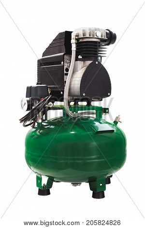 Compressor for dental equipment and for other equipment. Green isolated on white background