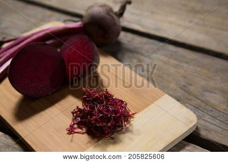 Close-up of chopped beetroot on chopping board