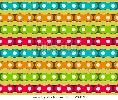 Motorcycle Chains in different vivid colors. Seamless vector pattern