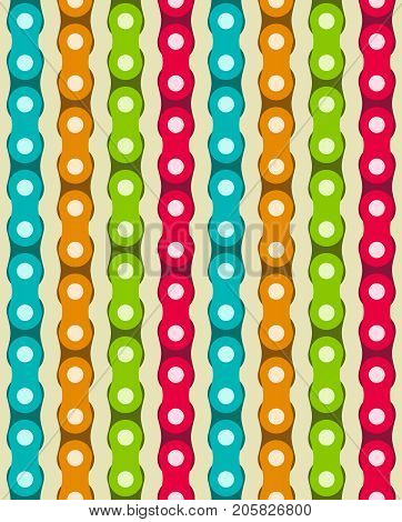 Vertical motorcycle chains in different vivid colors. Seamless vector pattern