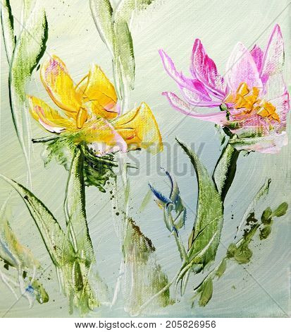Hand painted modern style Pink, Red and yellow flowers. Spring flower seasonal nature background. Oil knife painting floral texture