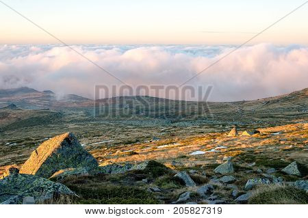 Vast expanse meadow with dried grass and approaching clouds at Vitosha mountain Bulgaria, above the clouds