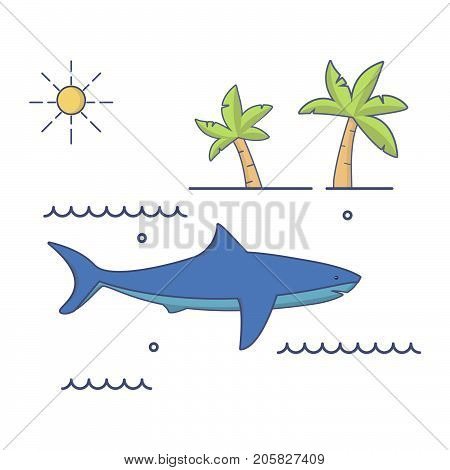 Sea predator great white shark. The fish floating in water. Tropical palm trees. A landscape in flat style linear a vector.