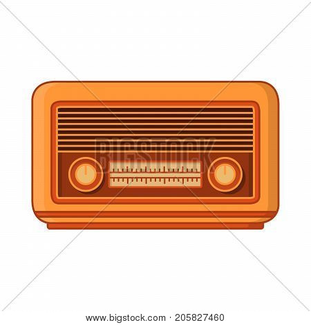 Vintage old retro of radio receiver of stations.The receiver in the wooden case  twentieth of a century.In flat linear style vector. An icon for a website of games.