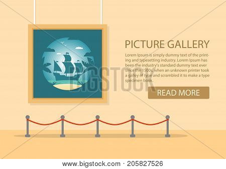 art gallery in the museum in flat style a vector. Exhibition of the modern art. Showroom with a painting exposition.Landscape tropical with the sailing ship and palm trees and the beach.