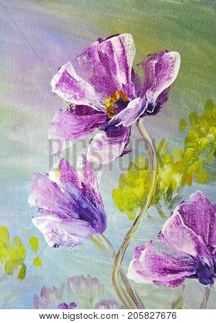 Hand painted modern style purple flowers. Autumn flower seasonal nature background. Oil painting floral texture