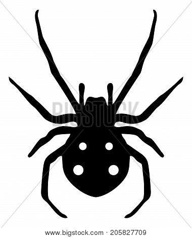 Stock clipart black spider symbol on white