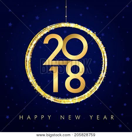 2018 vector gold numbers with xmas ball and text Happy New Year on navy blue background for seasonal greetings card or Christmas invitations. 2018 golden happy new year card