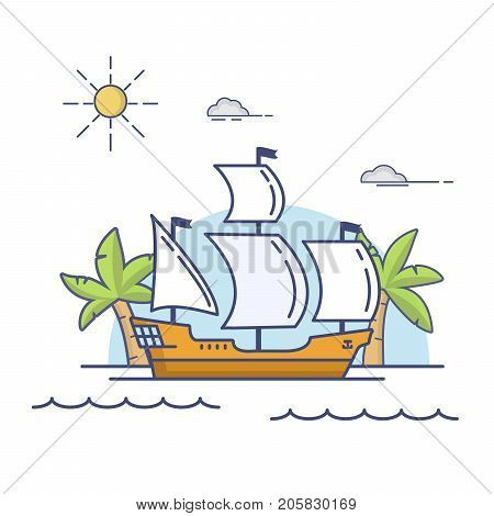 Old wooden historical sailing ship.The galleon floating by sea.Tropical sea landscape  palm trees and the vessel.An icon for the websites of travel.Transport sailing sea vessel linear flat a vector