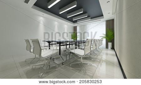 Conference room for business meeting with table and chairs (3D Rendering)