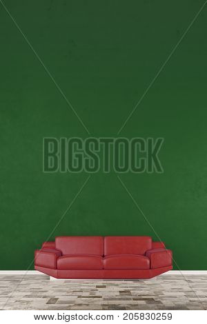 Red sofa in living room with green wall as background (3D Rendering)