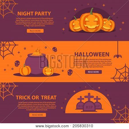 Poster for Halloween with the smiling pumpkin small lamps, a kettle of the witch with the boiling potion and a gravestone with crosses and a web.rick or treat.Holiday poster