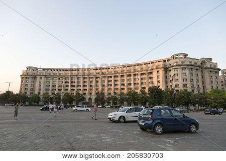 BUCHAREST, ROMANIA - AUGUST 10, 2017:Constitution Square in the center of Bucharest Romania.