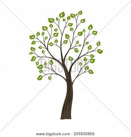Decorative simple tree. Green nature logo concept.