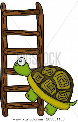 Scalable vectorial image representing a turtle climbing up a wooden ladder, isolated on white.
