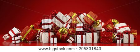 Pile of many christmas gifts or presents (3D Rendering)