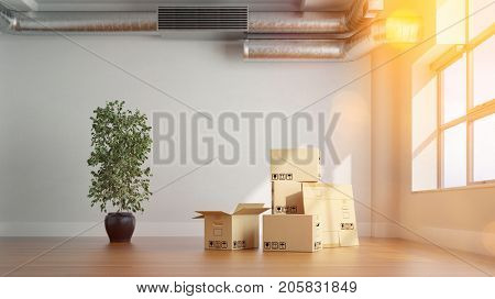 Piled boxes in apartment as moving or relocation office concept (3D Rendering)