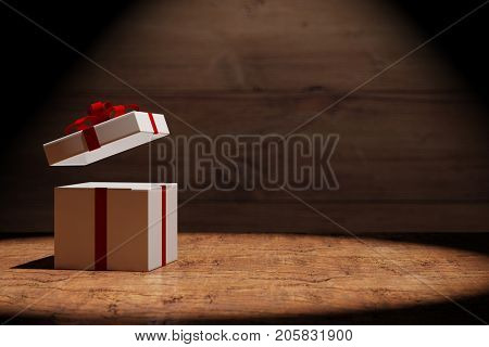 Open present or christmas gift  with wooden background (3D Rendering)