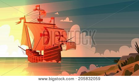 Ship In Sea On Sunset Happy Columbus Day National Usa Holiday Concept Flat Vector Illustration