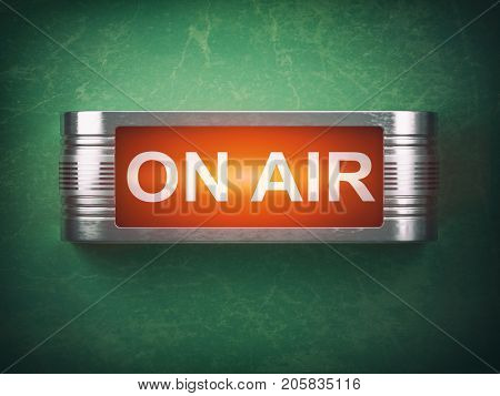 On air red glowing warning signboard. Record or broadcasting concept. 3d illustration